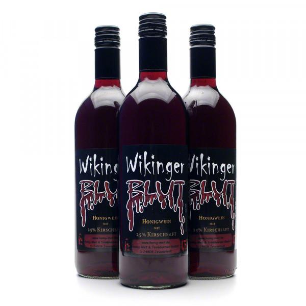 Wikingerblut Honigwein - roter Met mit Kirsch - 3 Flaschen Vorteilspaket
