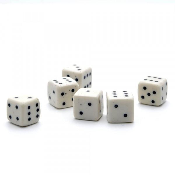Würfel - echter Knochenwürfel - weiß, 10 mm - 6er Set