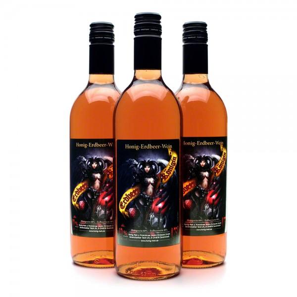 Erdbeerkönigin Honigwein - köstlicher Met mit Erdbeere - 3 Flaschen Vorteilspaket