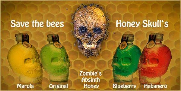 Zombies Absinth Honey, Honig, Absinth, Schädel, Skull, Save the bees, Honig Schnaps