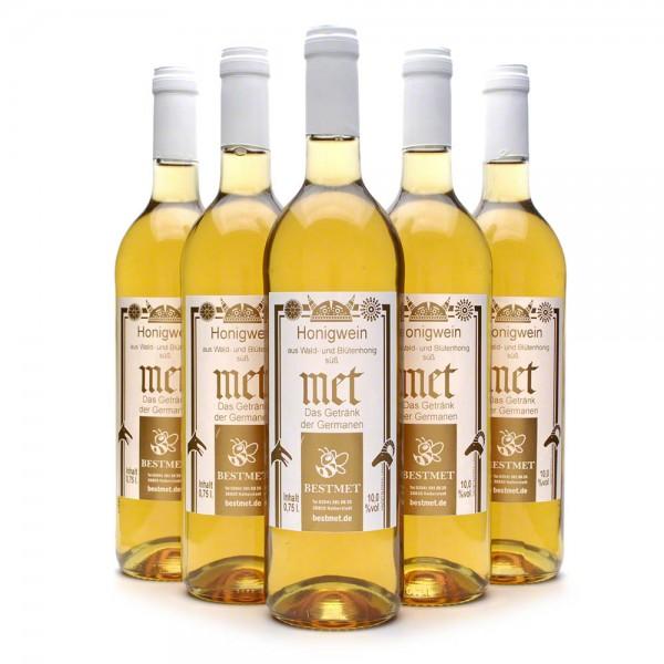 Met Wald & Blütenhonig - Honigwein süß - Naturkorken - 10% Vol. alc - 0,75 Liter - 6 Flaschen