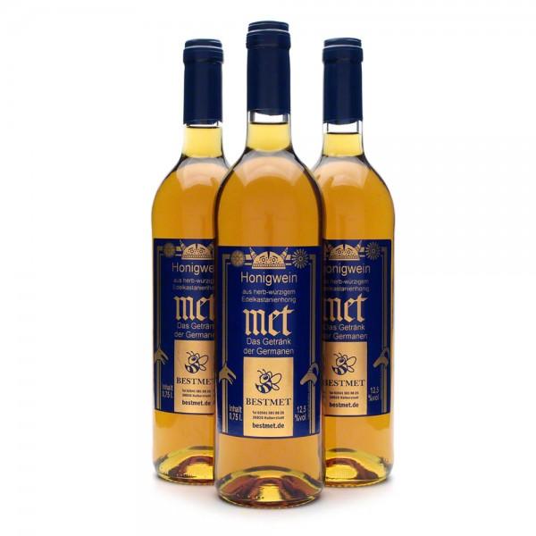 Met Edelkastanie - Premium Honigwein aus sortenreinem Honig - Naturkorken - 3 Flaschen Vorteilspaket