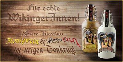 Honigwein lieblich und Wikinger Blut Met in der Tonflasche mit Bügelverschluß