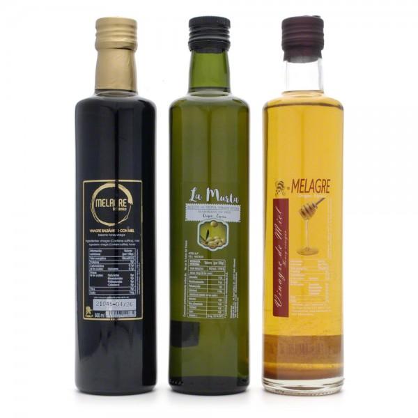 Geschenkset - Metessig, Honigbalsamico, Premium Olivenöl - 3 Flaschen