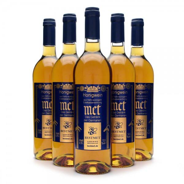 Met Edelkastanie - Premium Honigwein aus sortenreinem Honig - Naturkorken - 6 Flaschen Vorteilspaket