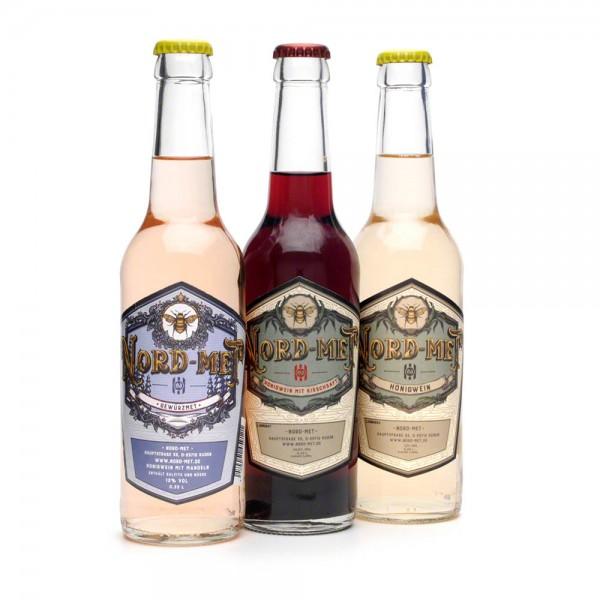 Nord-Met Honigwein Probierset - 3x 0,33 Liter Flaschen plus 2 Bierdeckel