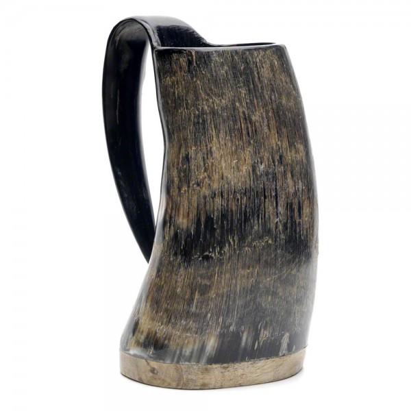 Hornbecher aus echtem Rinderhorn - mit Henkel und Holzboden - 600 ml - Vorschau