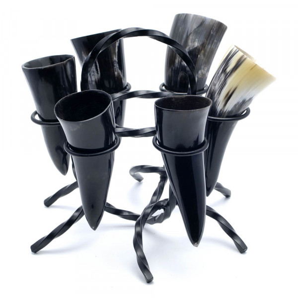 Hornständer - Trinkhornständer Premium - 6-fach, mit Hörnern 50 ml
