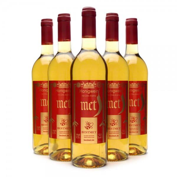 Met Chilli - scharfer Honigwein mit natürlichem Aroma - Naturkorken - 6 Flachen Vorteilspaket