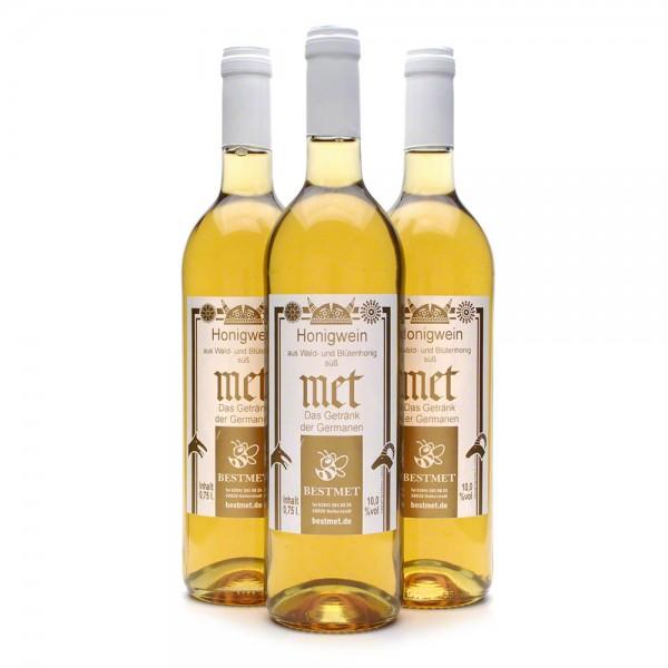 Met Wald & Blütenhonig - Honigwein süß - Naturkorken - 10% Vol. alc - 0,75 Liter - 3 Flaschen