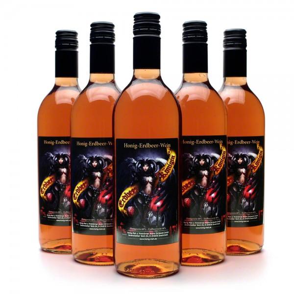 Erdbeerkönigin Honigwein - köstlicher Met mit Erdbeere - 6 Flaschen Vorteilspaket