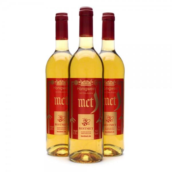 Met Chilli - scharfer Honigwein mit natürlichem Aroma - Naturkorken - 3 Flachen Vorteilspaket