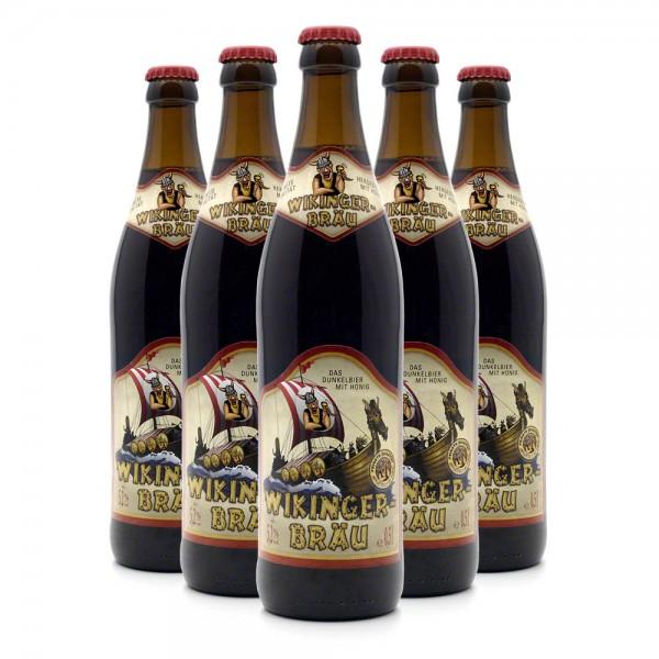 Wikinger-Bräu Honigbier - Dunkelbier mit 20% edlem Honigwein - 6 Flaschen