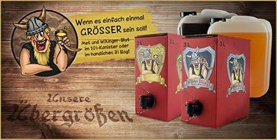 Bag-in-Box 3 Liter - Met lieblich oder Wikingerblut Kirschmet - oder 10 Liter Kanister