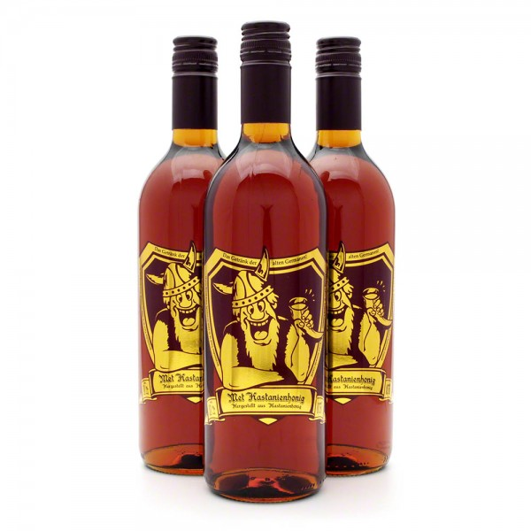 Met Kastanienhonig - Premium Honigwein aus sortenreinem Honig - 3 Flaschen Vorteilspaket