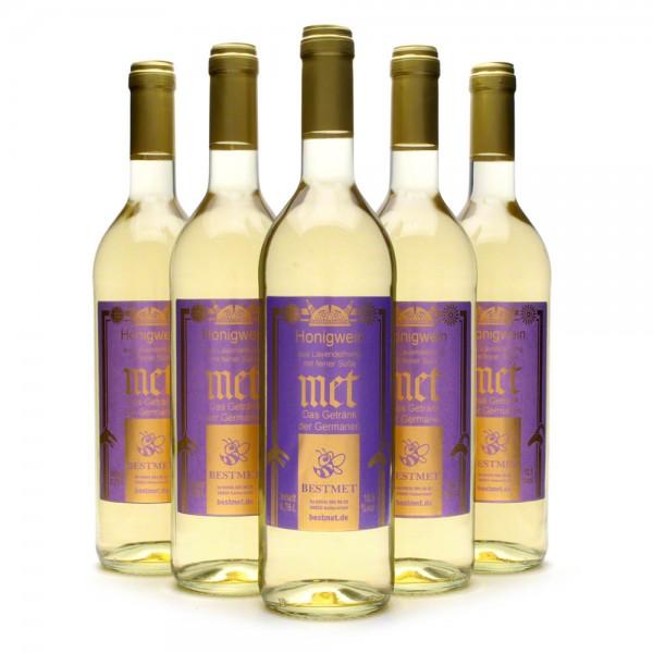 Met Lavendelhonig - Premium Honigwein aus sortenreinem Honig - Naturkorken - 6 Flaschen Vorteilspaket