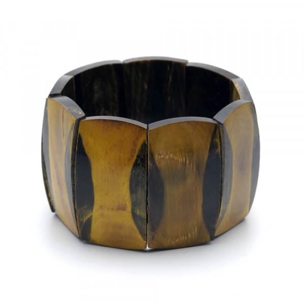 Armband - echtes Horn, ocker-schwarz - 45 mm - auf weiß stehend