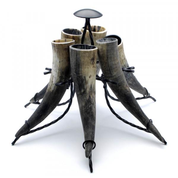 Hornständer - Trinkhornständer Premium - 6-fach, komplett mit Hörnern natur bis 0,3 Liter
