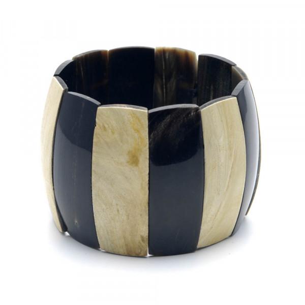 Armband - echtes Horn, natur-schwarz - 50 mm - auf weß stehend