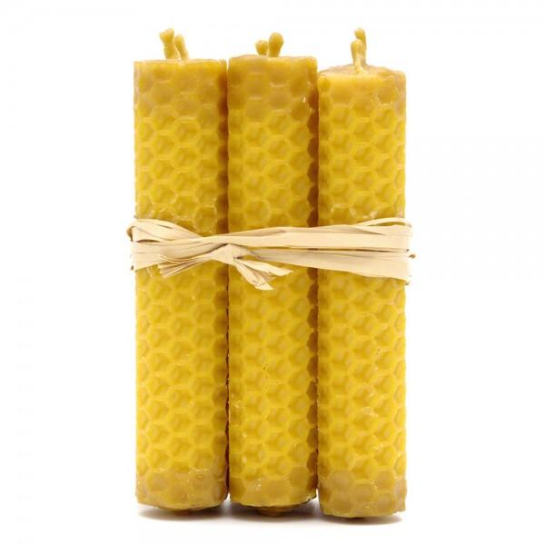 Bienenwachskerze mit Wabenstruktur - Handarbeit - 10 x 2 cm - 6er Pack