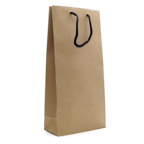 Geschenkverpackung - Flaschentüte natur für zwei Flaschen - Front/Side