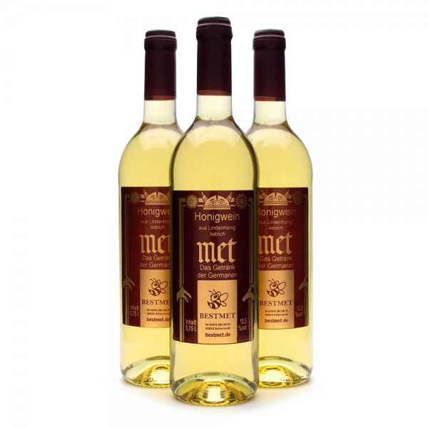 Met Linde - Premium Honigwein aus sortenreinem Lindenhonig - Naturkorken - 3 Flaschen Vorteilspaket