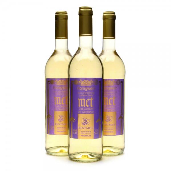 Met Lavendelhonig - Premium Honigwein aus sortenreinem Honig - Naturkorken - 3 Flaschen Vorteilspaket