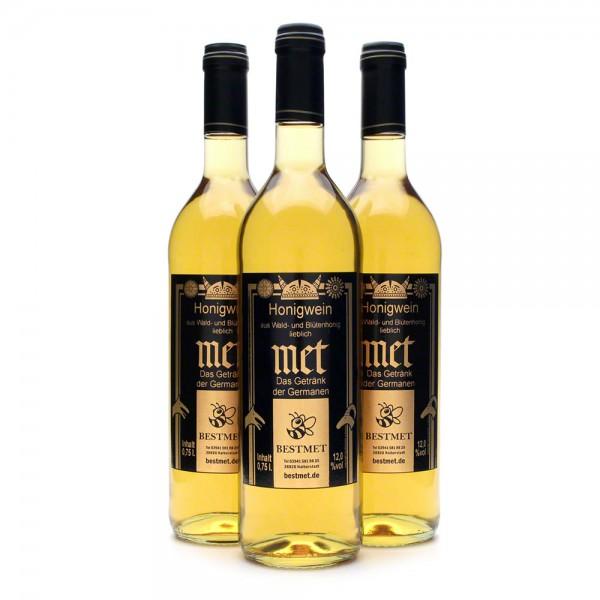 Met Wald & Blütenhonig - Honigwein lieblich - Naturkorken - 12% Vol. alc - 0,75 Liter - 3 Flaschen