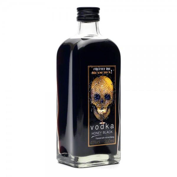Vodka Honey Black - schwarzer Vodka mit Honig - 350 ml Flasche - 40 % Vol. alc. - Front Seite