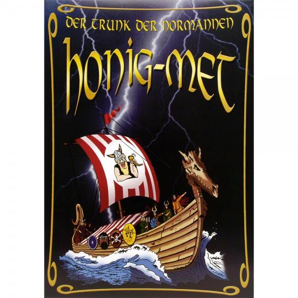Plakat Honig-Met mit Wikinger-Langschiff, Poster A3