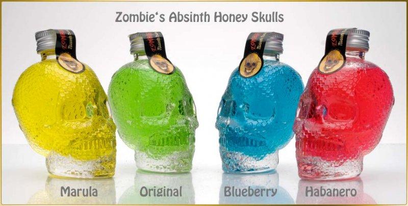Zombies Absinth Honey - Honiglikör in 4 Geschmacksrichtungen - Totenkopf-Flasche