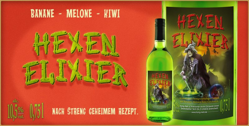 Hexen Elixier, Banane Melone Kiwi Honig Wein, Met, Honigwein, Honigmet, Fruchtmet, Fruchtwein