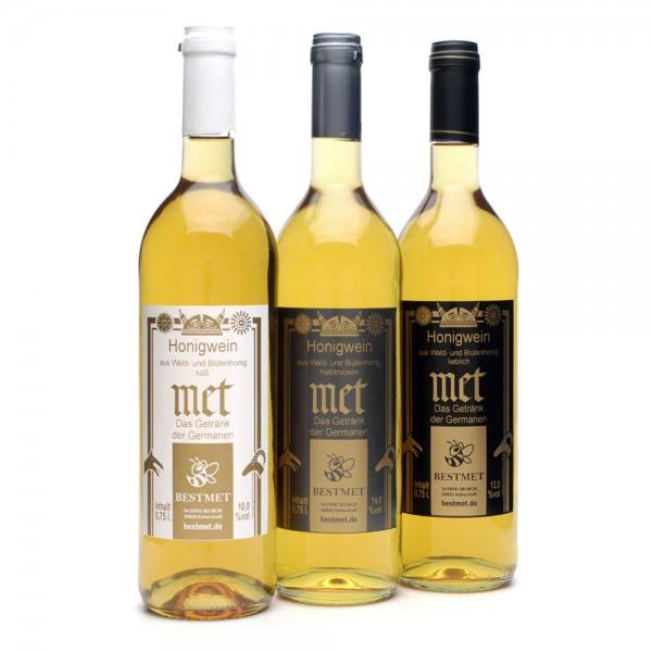 """Met Probierset """"Wald- und Blütenhonig"""" - Honigwein mit Naturkorken - 3 Flaschen"""
