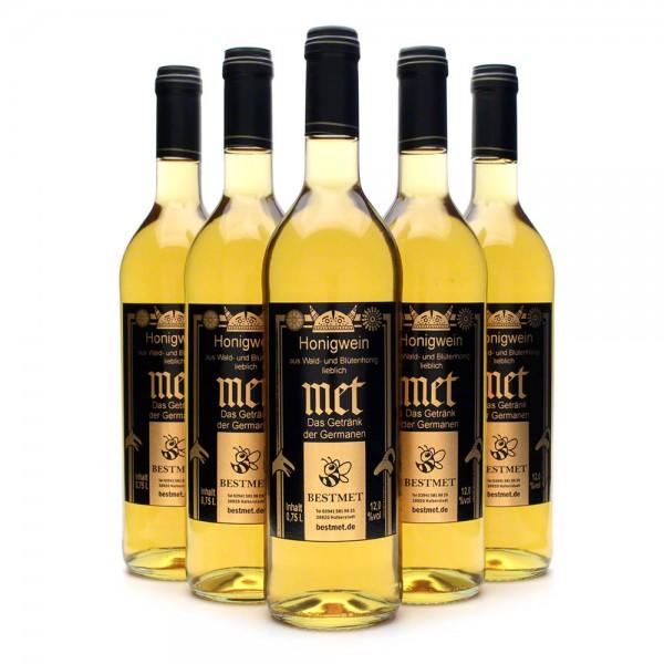 Met Wald & Blütenhonig - Honigwein lieblich - Naturkorken - 12% Vol. alc - 0,75 Liter - 6 Flaschen