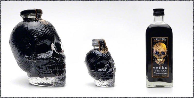 Vodka Honey Black - schwarzer Honig-Vodka in Totenkopf-Flasche