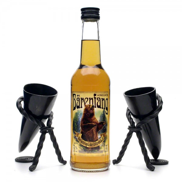 Honiglikör Geschenkset Beowulf - Bärenfang und zwei Schnapshörner mit Hornständer