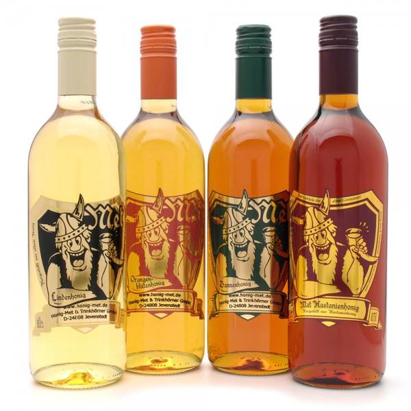 """Met Probierset """"Feiner Honig"""" - Honigwein Premium- 4 Flaschen"""