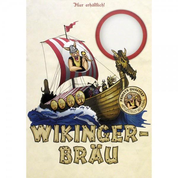 Plakat Wikingerbräu Honigbier mit Wikinger-Langschiff, Poster A3
