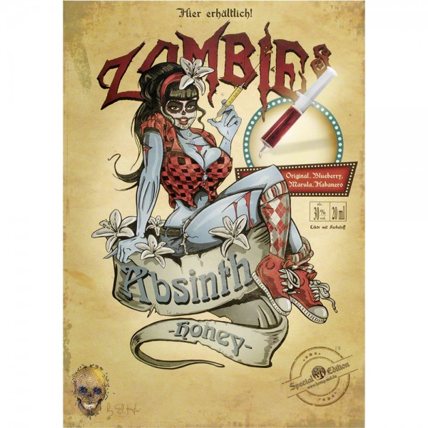 Plakat Zombies Absinth Honey im Santa Muerte Stil, Poster A3