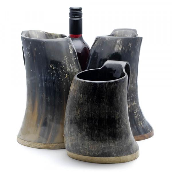 Hornbecher aus echtem Rinderhorn - mit Henkel und Holzboden - 1400-2000 ml - Größenvergleich