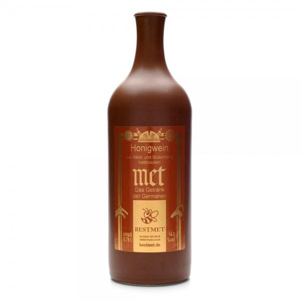 halbtrockener Met - Honigwein aus Wald- und Blütenhonig - Tonflasche mit Naturkorken