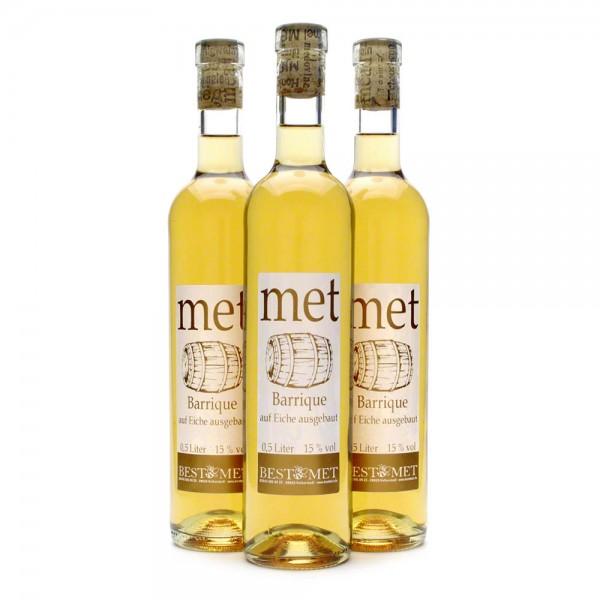 Met Barrique - fassgereifter Honigwein - 15% Vol. alc - 0,5 Liter - 3 Flaschen Vorteilspaket