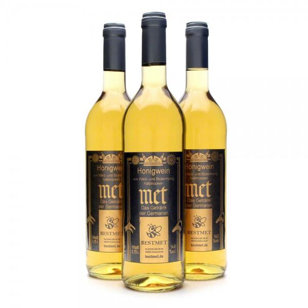 Met Wald & Blütenhonig - Honigwein halbtrocken - Naturkorken - 14% Vol. alc - 0,75 Liter - 3 Flaschen Vorteilspaket