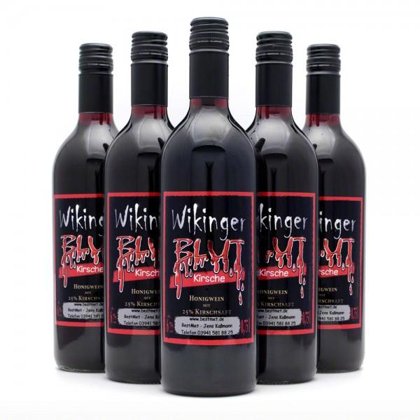 Wikingerblut Honigwein - roter Met mit Kirsch - 6 Flaschen Vorteilspaket