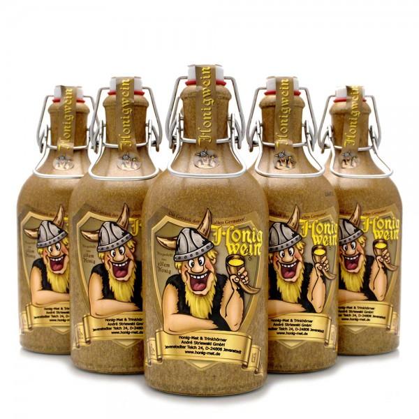 lieblicher Met - süßer Honigwein - 6 Tonflaschen - Vorteilspaket
