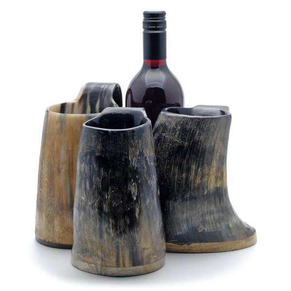 Hornbecher aus echtem Rinderhorn - mit Henkel und Holzboden - 800-1200 ml - Größenvergleich