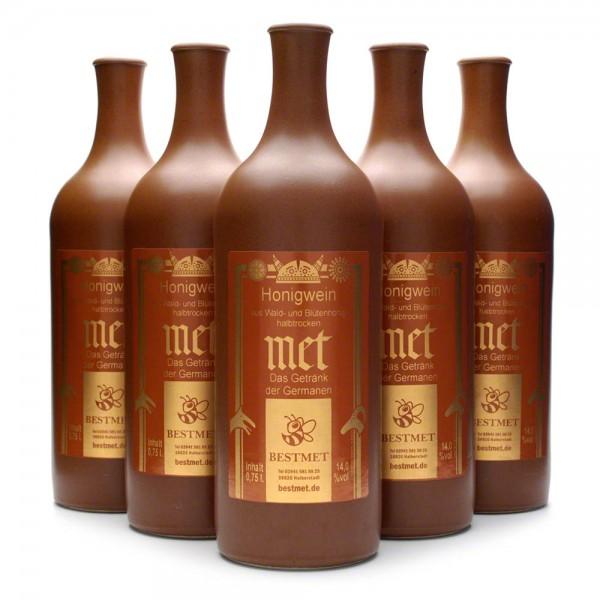 halbtrockener Met - Honigwein aus Wald- und Blütenhonig - 6 Tonflaschen mit Naturkorken Vorteilspaket