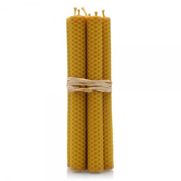 Bienenwachskerze mit Wabenstruktur - Handarbeit - 20 x 2 cm - 6er Pack